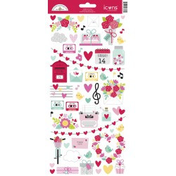 Stickers Doodlebug Design Love Notes Icons