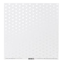 Bazzill Foiled Pattern Cardstock 12 x 12 Heart W/White Pearl, Marshmallow