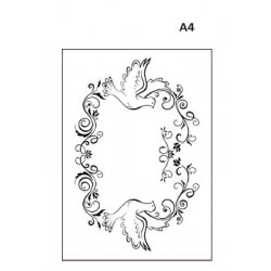 Embossing template A4 frame pigeons