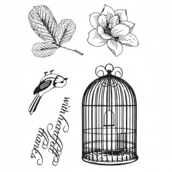 Timbro in silicone Ultimate Crafts 4x6 Inch Stamp Set Songbird